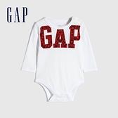 Gap嬰兒 Logo創意圓領長袖包屁衣 656192-白色