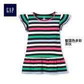 Gap女嬰幼童 時尚柔軟圓領印花T恤 259379-靛藍多彩條紋