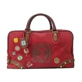 LOEWE 紅色麂皮徽章手提波士頓包 Amazona 36 160周年紀念款 【BRAND OFF】