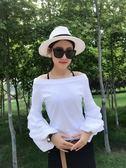 新品韓版寬鬆條紋一字領燈籠袖百搭空調T恤衫女上衣     初語生活