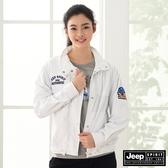 【JEEP】女裝輕薄立領短版防風外套-白色