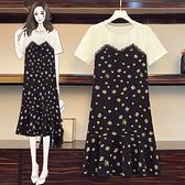 連身裙 洋裝中大尺碼L-5XL胖MM不規則拼接撞色休閑遮肚連身裙R28-A.胖丫