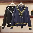 VK精品服飾 韓國風大碼顯瘦V領毛衣套頭單品長袖上衣