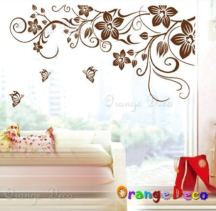 壁貼【橘果設計】花藤蔓 DIY組合壁貼/牆貼/壁紙/客廳臥室浴室幼稚園室內設計裝潢