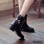 amai素面皮帶拉鍊低跟工程短靴 黑