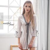 大尺碼Annabery緞帶飾邊奶白柔緞面二件式罩衫丁褲組《Life Beauty》