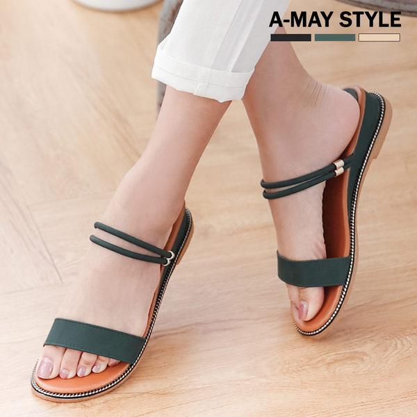 涼鞋-典雅質感兩穿羅馬楔型涼鞋