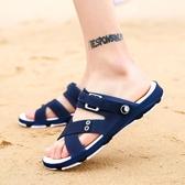 新款夏季男士涼鞋休閒沙灘鞋防滑駕車涼拖兩用時尚外穿洞洞鞋 京都3C