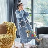 睡袍 女秋冬季三層夾棉加厚刷毛睡衣睡裙保暖星星加長款浴袍T M-XXL