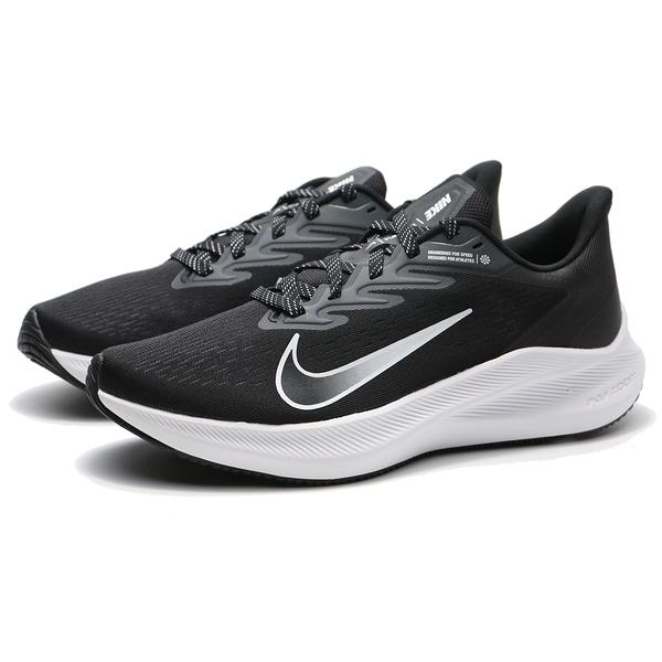 NIKE 慢跑鞋 ZOOM WINFLO 7 黑網布 黑白漸層LOGO 氣墊 訓練 男 (布魯克林) CJ0291-005