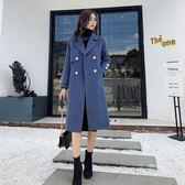 大衣 毛呢外套女中長款韓版潮寬松加厚流行霧霾藍呢大衣