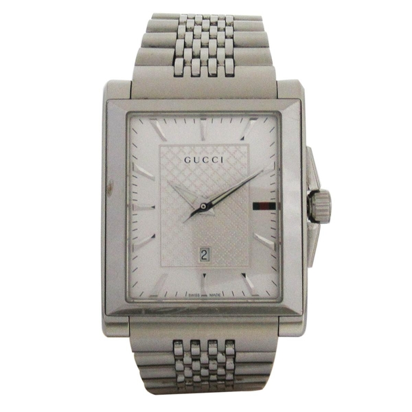 GUCCI 古馳 G-Time 方型不鏽鋼石英錶 138.4【二手名牌 BRAND OFF】