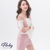 套裝 一字領鉤花吊帶套裝 上衣+褲裙-Ruby s 露比午茶