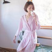 薄款睡袍女華夫格中長款浴袍男女士七分袖浴衣睡衣情侶家居服 最低價促銷