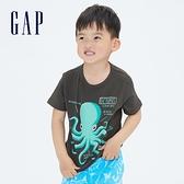 Gap男幼童 布萊納系列 純棉動物印花短袖T恤 697993-黑色