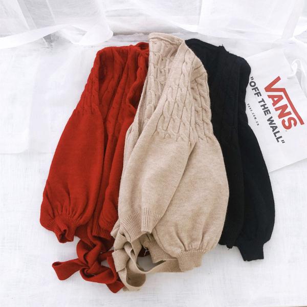 L針織外套 純色復古綁帶燈籠袖二色-月兒的綺麗莊園