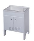 【麗室衛浴】媽媽的好幫手  實心人造石活動式洗衣檯浴櫃組(白) 570  70*51CM