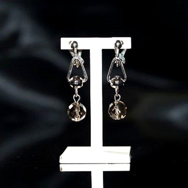 【喨喨飾品】茶水晶 夾式耳環飾品 S344