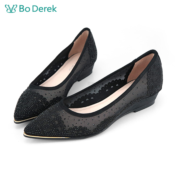Bo Derek 晶鑽透膚網紗平底鞋-黑色