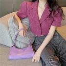 網紅小香風短款西裝上衣女夏薄款設計感小眾休閒紫色短袖西服外套 韓國時尚週