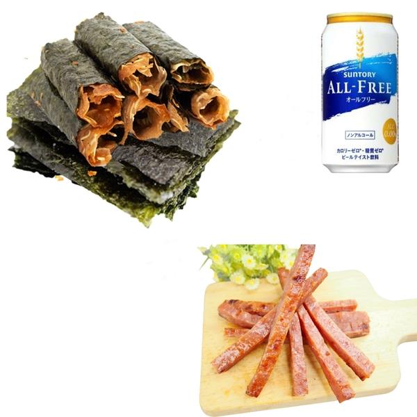 肉乾福袋 海苔脆肉捲 / 黃金條肉乾 / 無酒精啤酒 甜園小舖