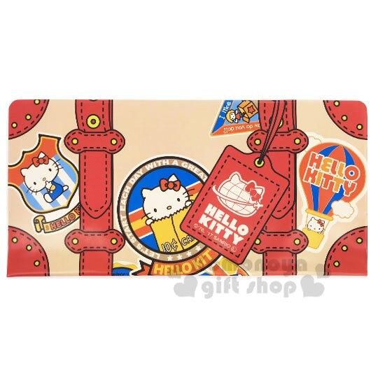 〔小禮堂〕Hello Kitty 雙開式票據收納夾《棕紅.行李箱》資料夾.票據夾.銅板小物 4573135-58142