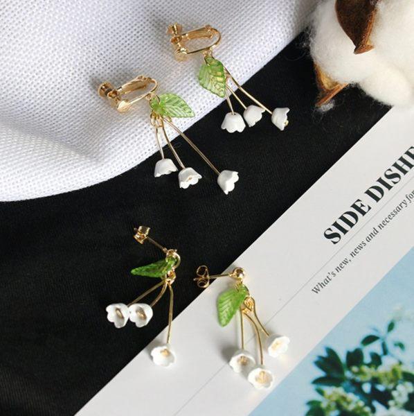 [全館5折] 日系 耳飾 森系 清新 鈴蘭花 耳釘 流蘇 花朵 長款 無耳洞 耳夾