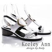 ★2018春夏★Keeley Ann獨立性格~大金屬環全真皮中跟涼鞋(白色)-Ann系列