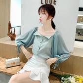 早秋新款雪紡衫洋氣超仙百搭時尚潮流女裝氣質網紅格子上衣(速出)