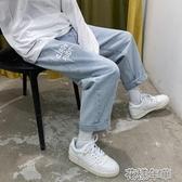 牛仔褲男夏天薄款直筒寬鬆九分港風痞帥男褲子潮流百搭墜感闊腿褲 快速出貨