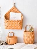 純手工木片編織可手提小花籃吊掛花盆壁掛綠蘿吊籃花卉懸掛YJT