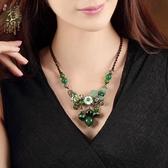 云南民族風項鍊時尚百搭綠色女復古鎖骨鍊短款配飾裝飾品潮