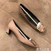單鞋女新款春方頭粗跟方扣高跟鞋ins仙 網紅中跟鞋香蕉跟女鞋「錢夫人小鋪」