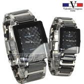 valentino coupeau范倫鐵諾 方形菱格紋情人對錶 防水手錶 不銹鋼 IP黑電鍍 V61222黑大+V61222黑小