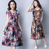 洋裝 連身裙 夏季新款收腰顯瘦印花民族風棉麻連衣裙短袖修身中大尺碼寬鬆亞麻長裙