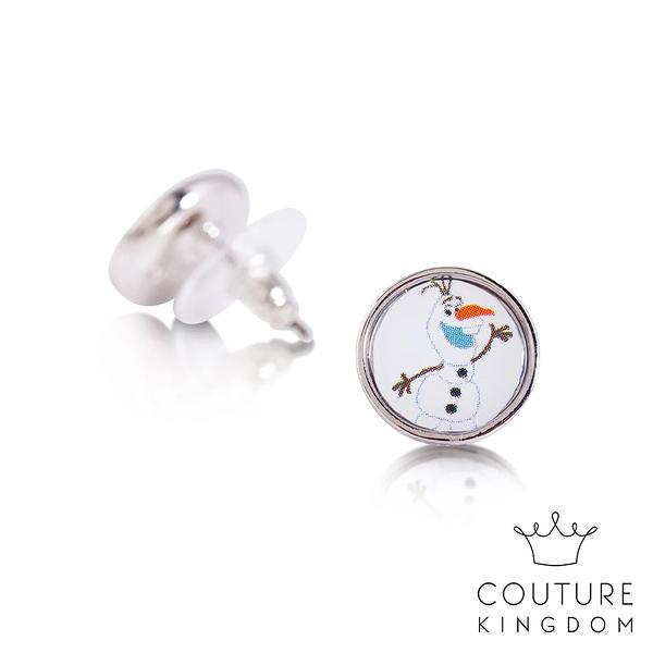 Couture Kingdom 迪士尼冰雪奇緣2 鍍14K白金雪寶圖釘彩繪耳釘 Olaf Stud Earrings