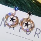 925銀針會動的星星耳環多層閃鑽金屬圓圈耳釘氣質耳墜耳飾品