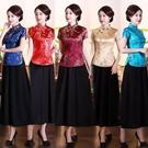 旗袍上衣短袖錦緞修身短款女裝中式復古唐裝茶服日常夏工作服 快速出貨