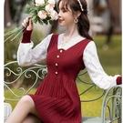 假兩件可愛配色針織百褶短洋裝[99262-QF]美之札