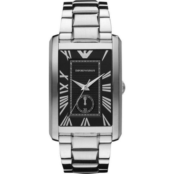 【台南 時代鐘錶 Emporio Armani】典雅羅馬時標 長方形時尚男錶 AR1608 黑/銀 39mm
