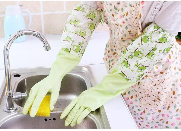 束口貓頭鷹加絨保暖橡膠洗碗手套 家事手套 (不挑色)