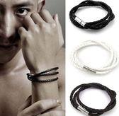男士 多層 編織 麻花 手鍊 韓國 爆款 皮繩 手鐲 手繩 手環