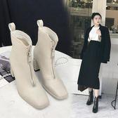靴子 短靴女白色靴子英倫前拉鍊馬丁靴高跟鞋加絨粗跟 蓓娜衣都