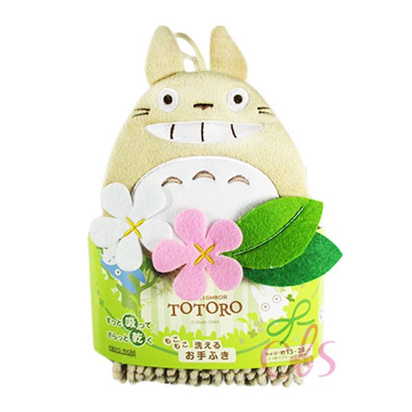 日本 宮崎駿吉卜力 龍貓TOTORO 雪尼爾擦手巾 棕龍貓花朵 ☆艾莉莎ELS☆