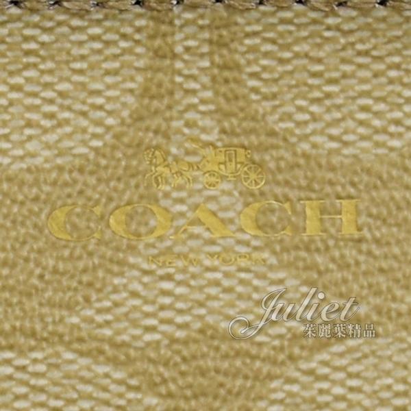茱麗葉精品【展示品 全新現貨】COACH 16107 經典LOGO PVC皮革證件鑰匙零錢包.卡其/白