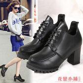 單鞋L小皮鞋I黑色高跟鞋粗跟低幫小皮鞋女時尚歐美圓頭系帶休閑馬丁鞋