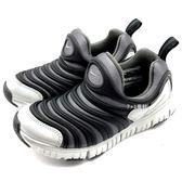 《7+1童鞋》中童 NIKE DYNAMO FREE Y2K (PSV) 彈性TPU伸縮網布 毛毛蟲鞋 運動鞋 F853 黑色