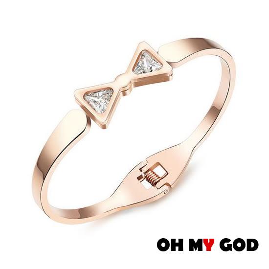 OH MY GOD甜美蝴蝶結鑲鑽鈦鋼手環