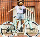 新款變速死飛自行車男單車雙碟剎實心胎成人細胎學生 QQ1280『樂愛居家館』