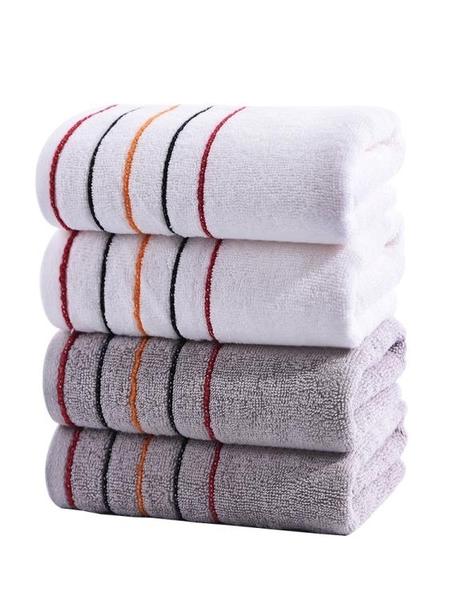 毛巾浴巾【4條裝】棉質毛巾 柔軟吸水家用洗臉帕男女全棉面巾成人深色毛巾推薦